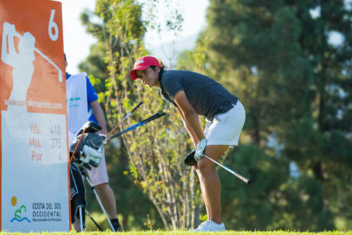 Maria Palacios Siegenthaler of Spain watches her tee shot on